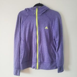 Adidas Purple and Neon Yellow Zip Up Hoodie